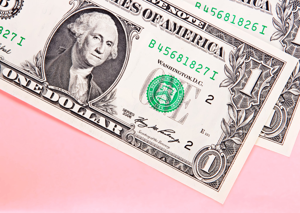 american dollar close up background